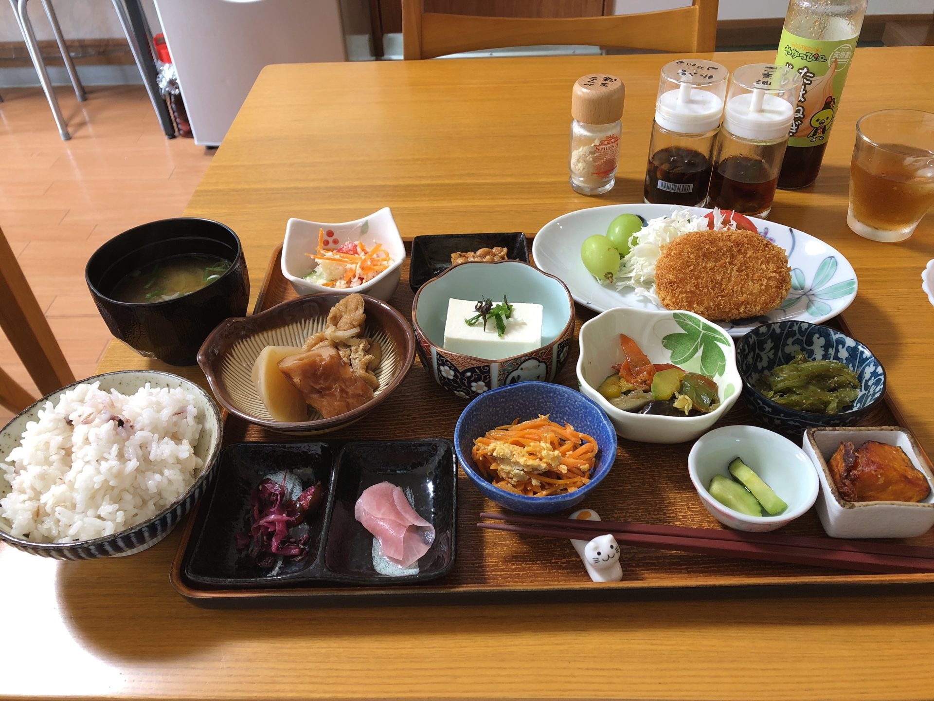 岡山の人気スポット矢掛 テンペ料理 発酵亭 の品数多いランチは健康によく体に優しい!