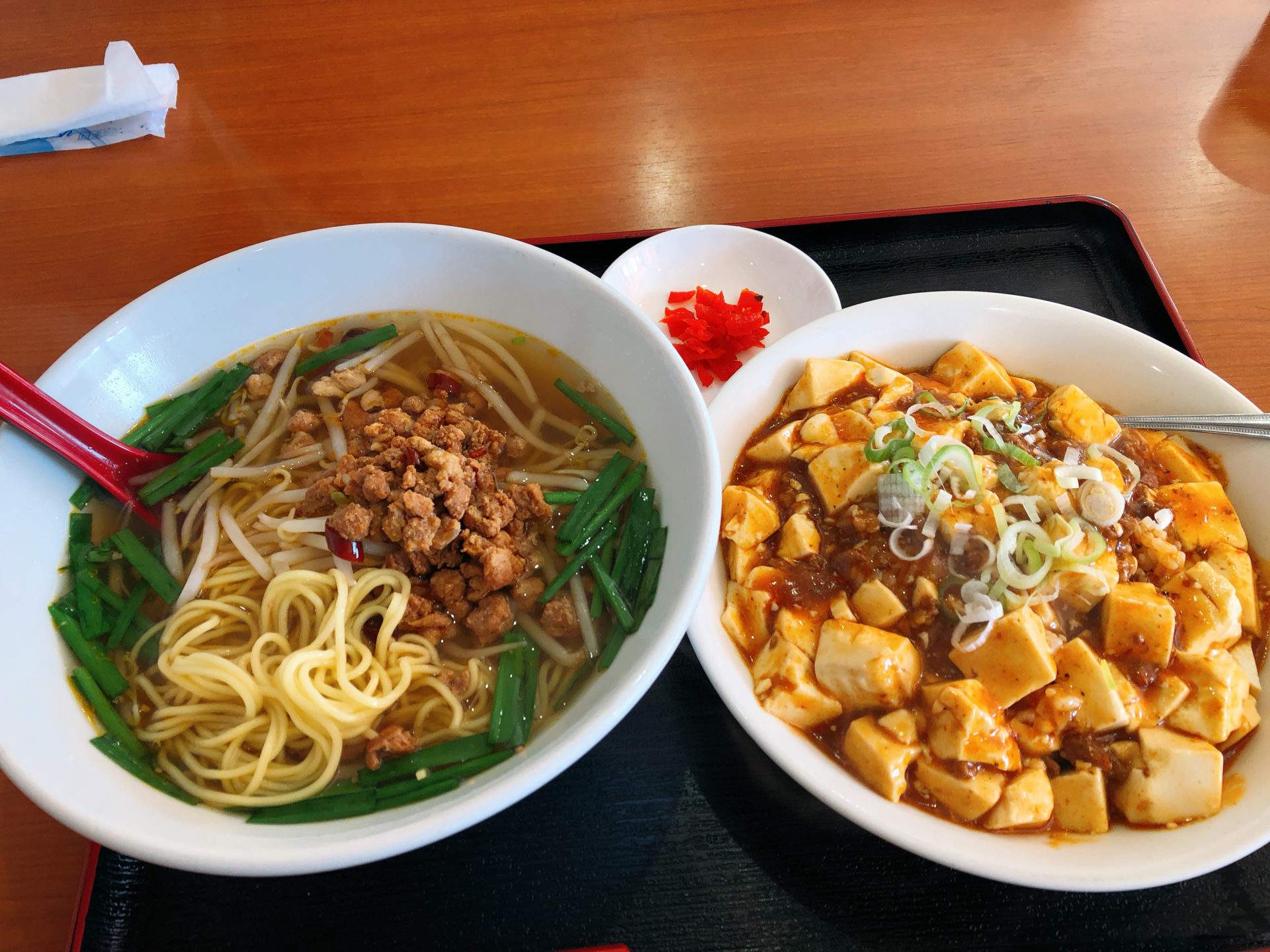 倉敷市真備町 コメリの斜め向かいにある、台湾料理 新四季 の昼限定ランチ!セットメニューの、ラーメンと麻婆飯の量に圧倒される!