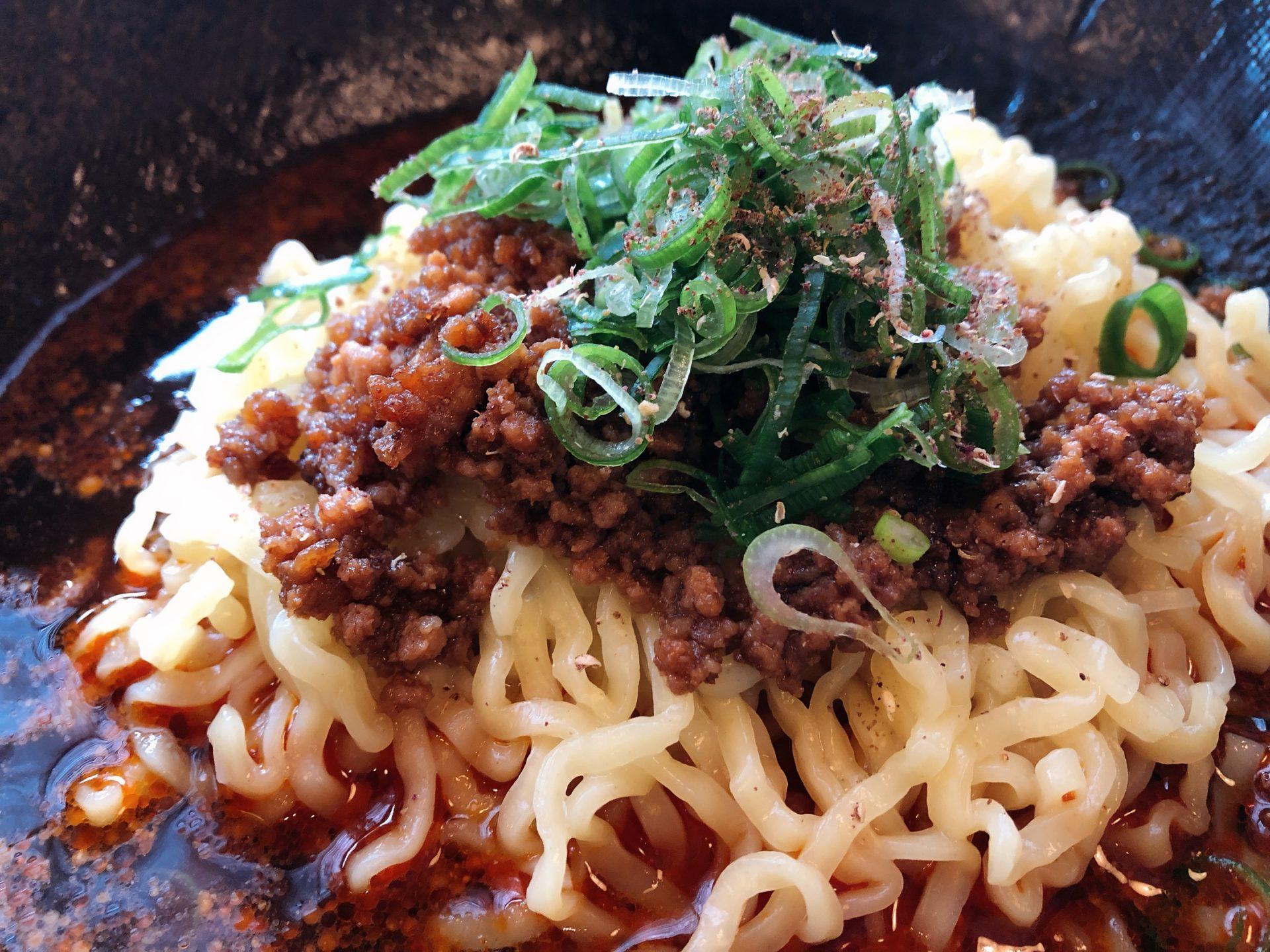 備前西市駅から徒歩5分 10月オープンの 汁なし坦々麺 山貴 岡山店を初訪問!花椒の効いた麺を食べた後の追い飯も美味い!