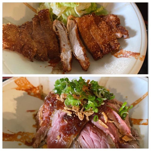 新岡山港から車で5分 魚の美味しい居酒屋 まめなかな のランチで、肉系のトンカツ定食とローストビーフ丼を食べてみた