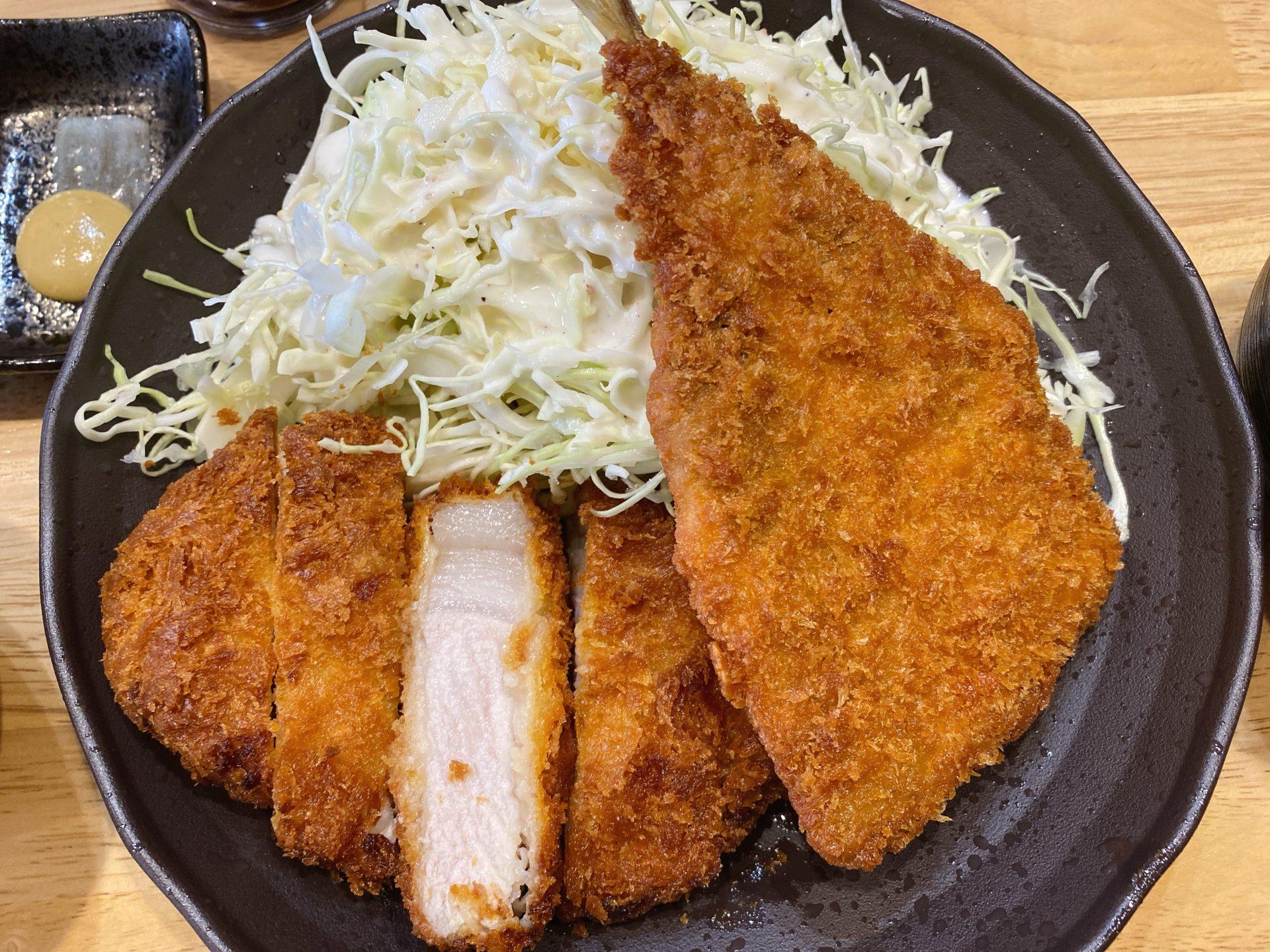 岡山市南区 昨年10月オープン!お食事処 彩織(さおり)にて三元豚ロースかつとあじフライのよくばり定食を頂き満足&満腹