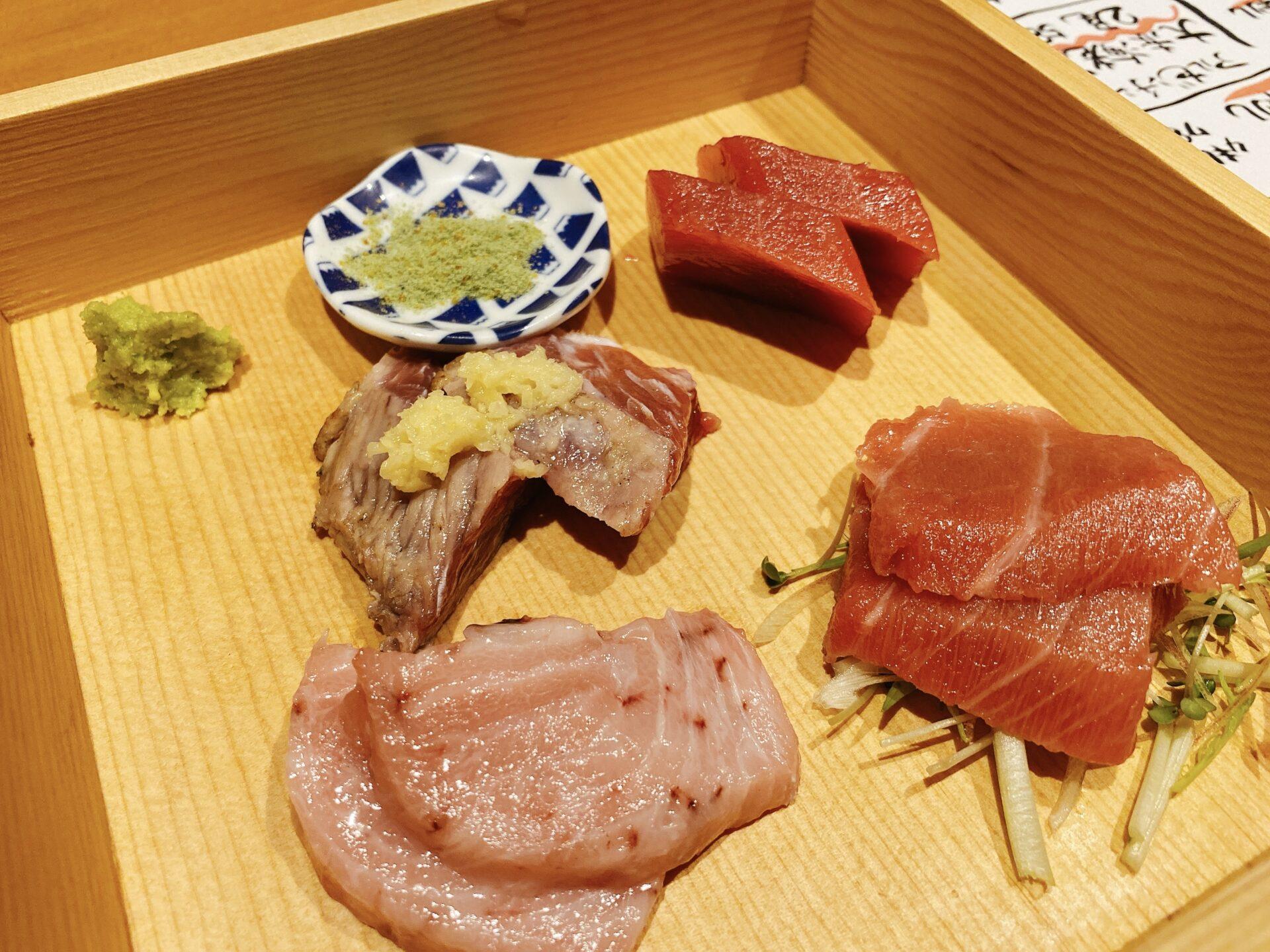 高島駅から車で3分【まぐろと旬菜 kurofune(くろふね)】脳天やほほ肉の刺身やテールステーキに嬉しい悲鳴!もう食べられません!