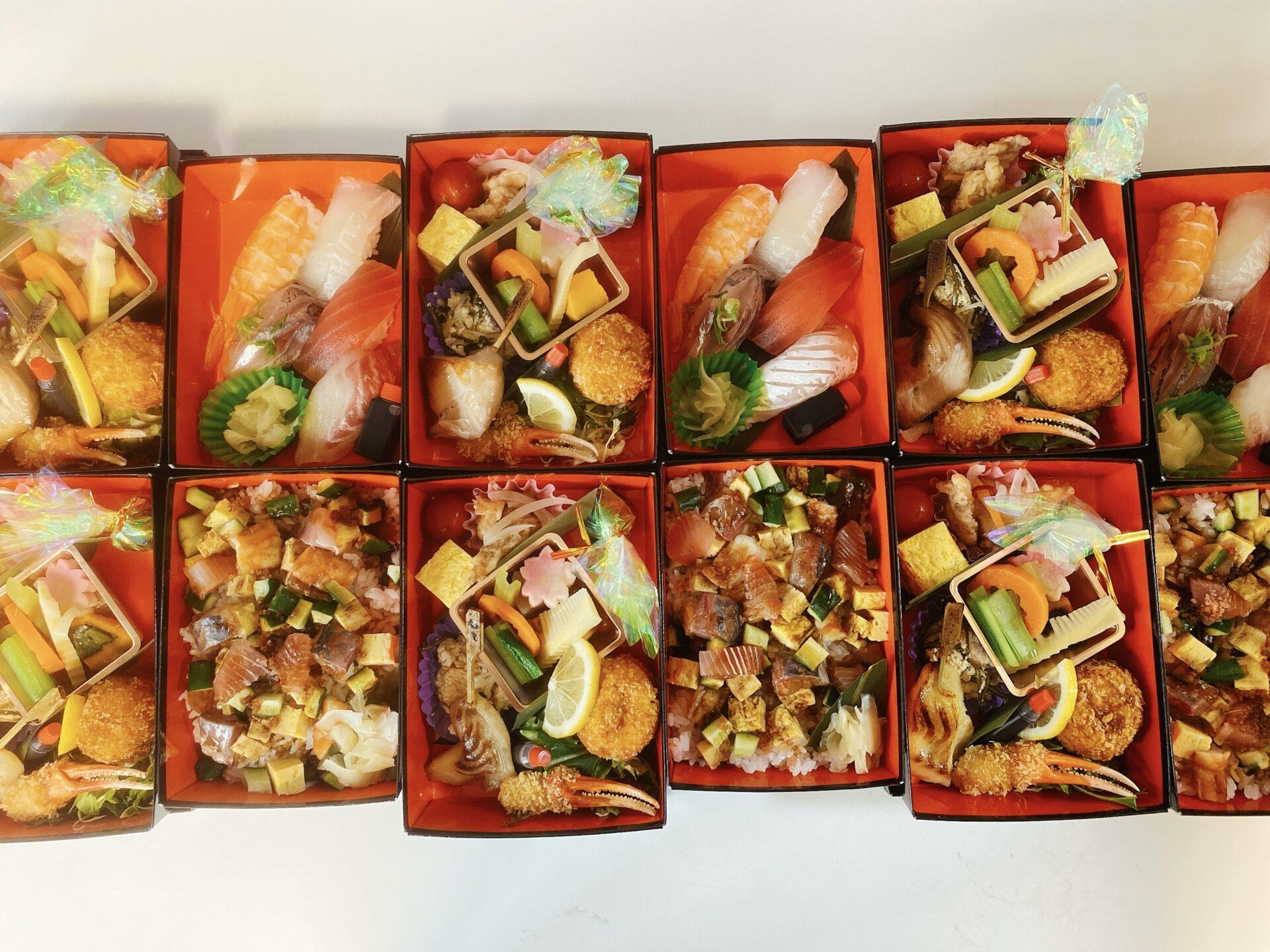 【岡山市南区のテイクアウト】海一の2段弁当は にぎり寿司 と ちらし寿司 の2種類で4月限定!ランチにおススメ!!