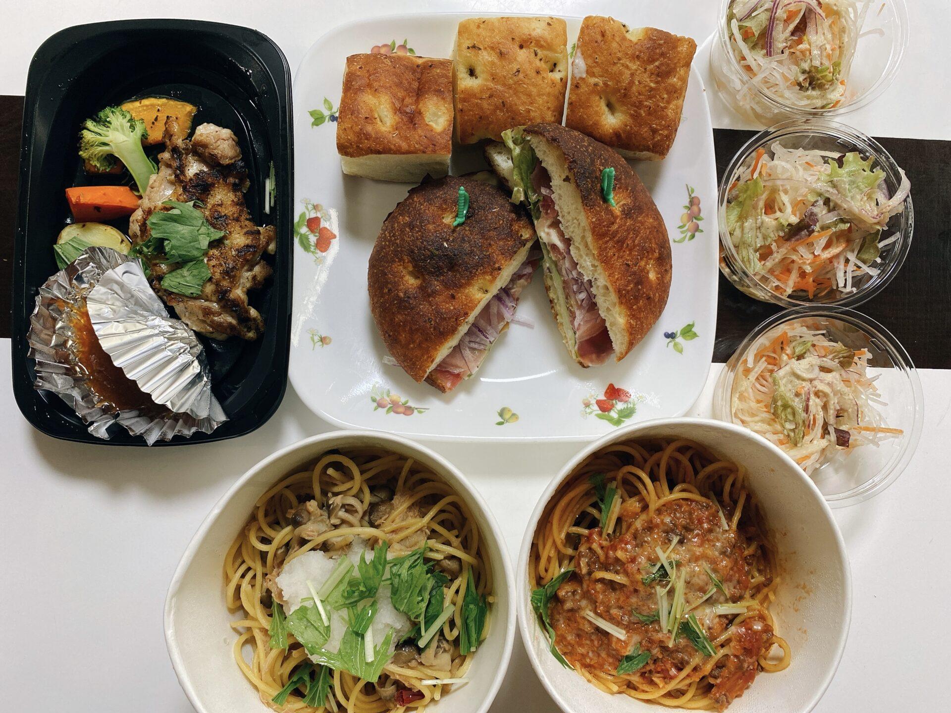 【岡山市北区のテイクアウト】シーズナルキッチン Yon-Sun(ヨンサン)のパスタランチとフォカッチャサンドを持ち帰り