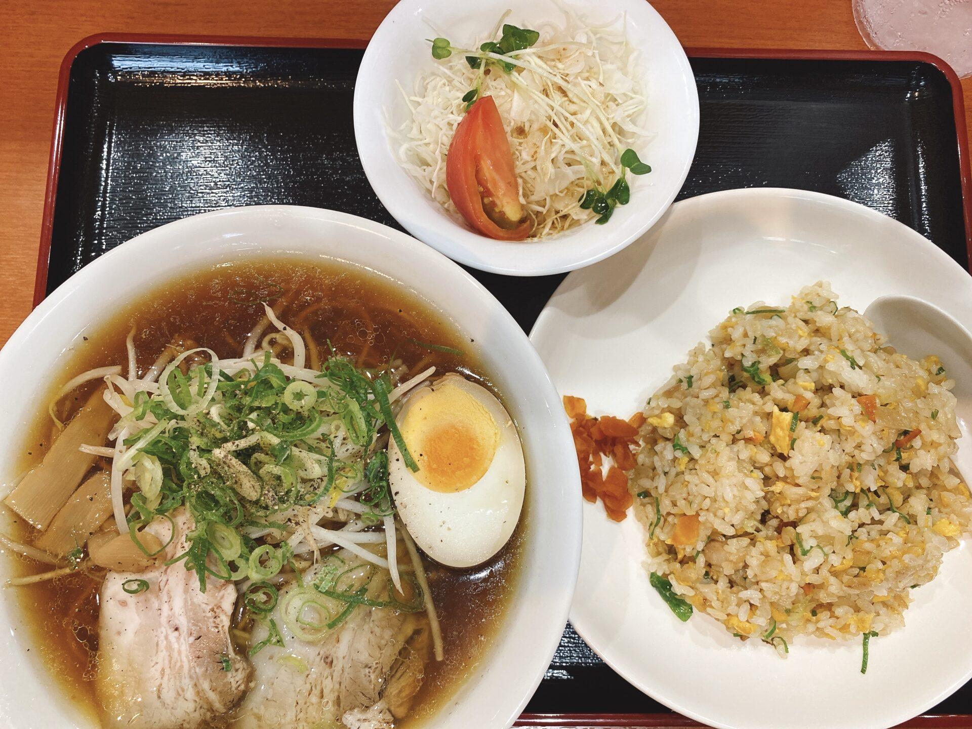 岡山市南区【中華料理 風花】麺類セットの焼豚玉子めしと迷うも焼飯の付いたラーメンセットに決定!